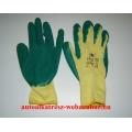 Munkavédelmi kesztyű cérna zöld-sárga mártott vastag 10-es